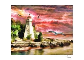 lighthouse ocean sunset seagulls