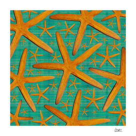 """Starfish in Turquoise and Mustard"""