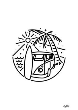 Van, Surf, and Beach