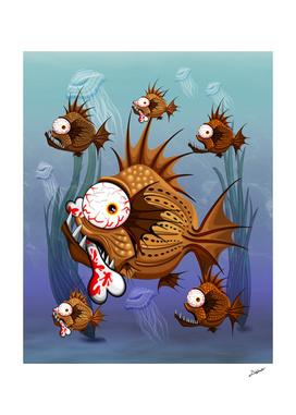 Psycho Fish Piranha with Bloody Bone
