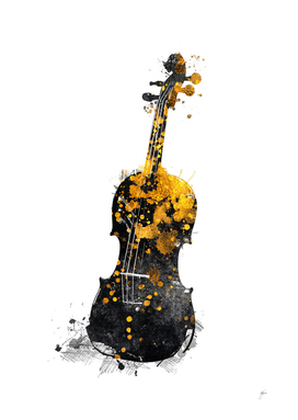 Violin music art gold and black