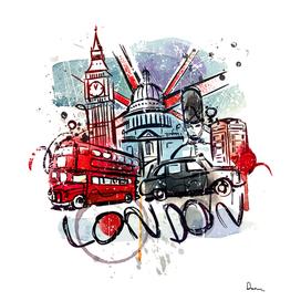 big ben bus london landmark