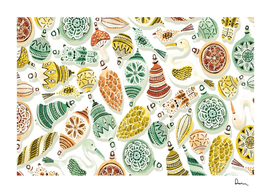 surface pattern vintage Christmas ornaments