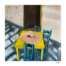 YELLOW TABLE BLUE CHAIRS