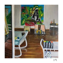 Artist's studio monkey