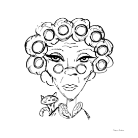 Sketch portrait of an evil grandmother in curlers