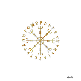 Scandinavian Runic Alphabet with the Vegvisir
