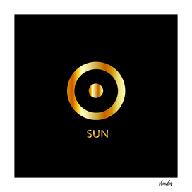 Zodiac and astrology symbol of the planet Sun in gold