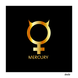 Zodiac and astrology symbol of the planet Mercury in gold