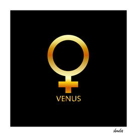 Zodiac and astrology symbol of the planet Venus in gold