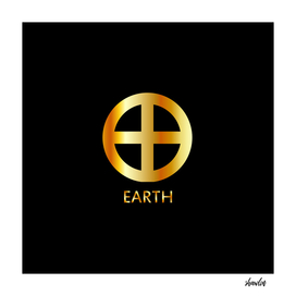 Zodiac and astrology symbol of the planet Earth in gold