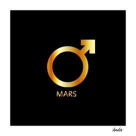 Zodiac and astrology symbol of the planet Mars in gold