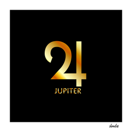 Zodiac and astrology symbol of the planet Jupiter in gold