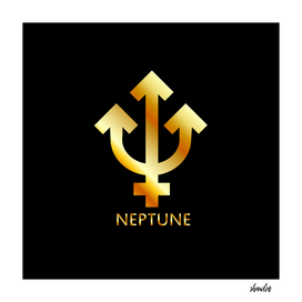 Zodiac and astrology symbol of the planet Neptune in gold
