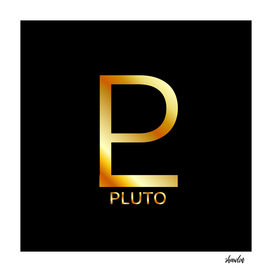 Zodiac and astrology symbol of the planet Pluto in gold
