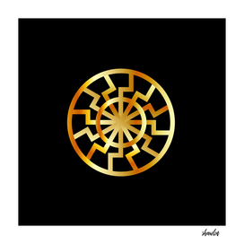 Black Sun symbol in gold- Schwarze Sonne