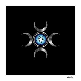 Inverted pentagram with triple goddess