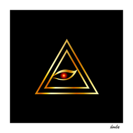 All Seeing Eye of illuminati in gold