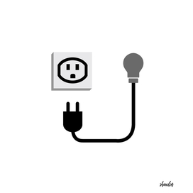 Electric plug outlet making a shocking face