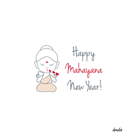 Happy mahayana new year- cute buddha