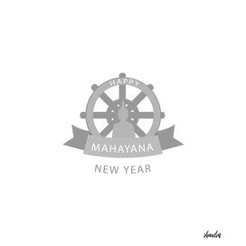 Wheel of Dharma and Buddhist new year Mahayana greetings