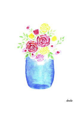 watercolor mason jar with red and yellow roses