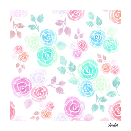 watercolor roses and leaves in soft vibrant colors