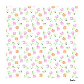 watercolor tulips_Tulips in tints of orange and pink