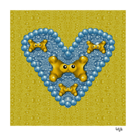 Butterflies in pearls and decorative love