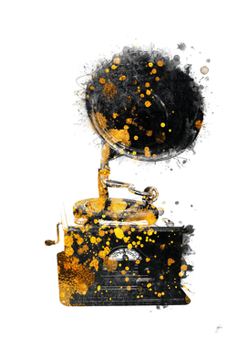 Gramophone music art gold and black #gramophone #music