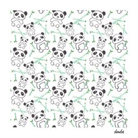 Watercolor pandas with bamboo shoots