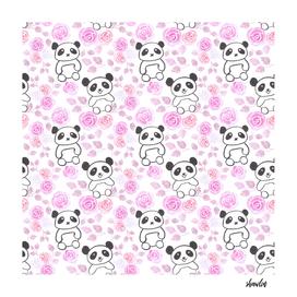 Pandas and pink roses