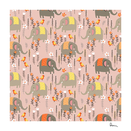 cute elephant wild flower field seamless pattern