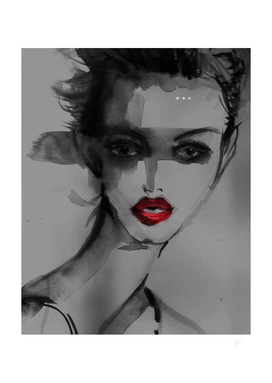 Red lips Fashion illustration-Portrait Art