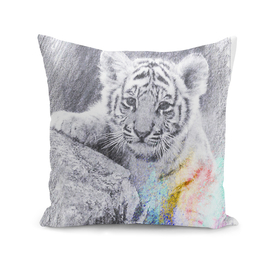 Tiger baby: classic sketch, pastel drawing, colorful