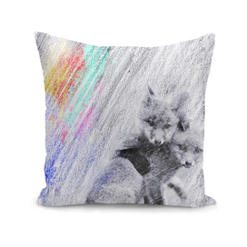 Baby fox: classic sketch, pastel drawing, colorful