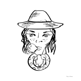 Sketch ink portrait of a girl in a hat with a bubble of gum.