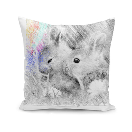Baby Rabbits: classic sketch, pastel drawing, colorful