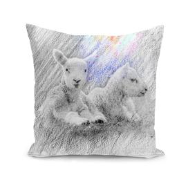 Baby Lamb, sheep: classic sketch, pastel drawing, colorful