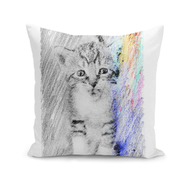 Kitten: classic sketch, pastel drawing, colorful