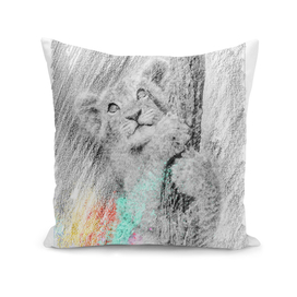 Baby tiger: classic sketch, pastel drawing, colorful