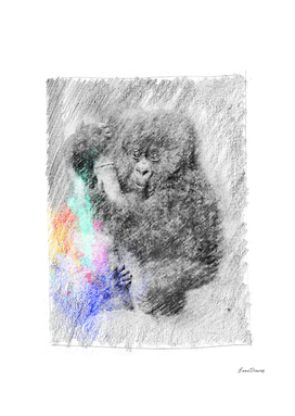Baby gorilla: classic sketch, pastel drawing, colorful