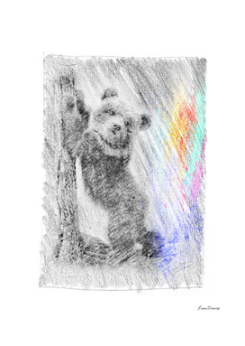 Baby Bear: classic sketch, pastel drawing, colorful