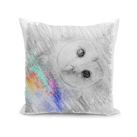 Owl: classic sketch, pastel drawing, colorful