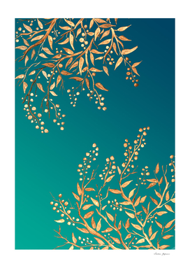 Golden Branches on Turquoise