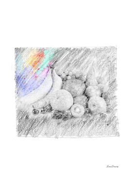 Fruits: classic sketch, pastel drawing, colorful