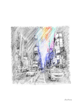 Fifth Avenue: classic sketch, pastel drawing, colorful