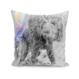 Elephant: classic sketch, pastel drawing, colorful