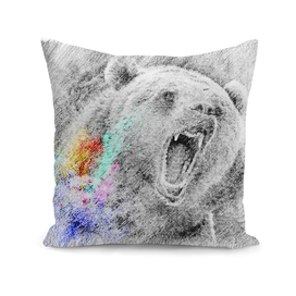 Bear grizzly: classic sketch, pastel drawing, colorful