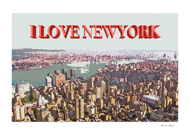 Painting of NewYork City Ariel View with Caption